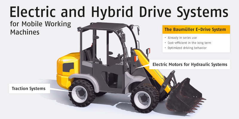 Hybrid and fully electric drive solutions for mobile work machines
